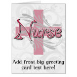 Pink Cross/Swirl Nurse Big Greeting Card