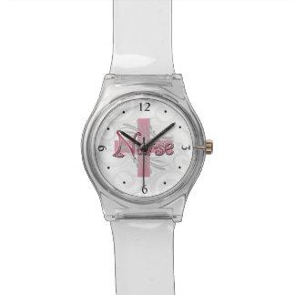 Pink Cross/Swirl Nurse Watch