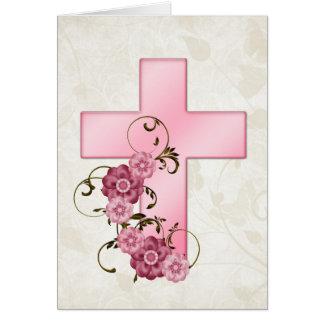 Pink Cross w Flowers 3 Christian Greeting Card