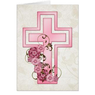 Pink Cross w Flowers 4 Christian Greeting Card