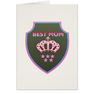 Pink Crown 5 Stars Shield for BEST MOM Note Card