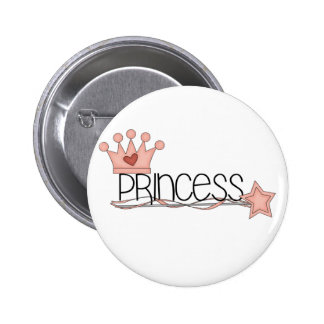Pink Crown and Wand Princess Buttons