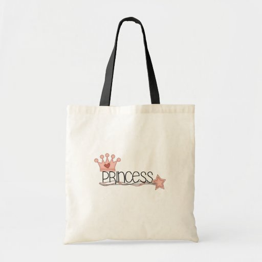 Pink Crown and Wand Princess Canvas Bags