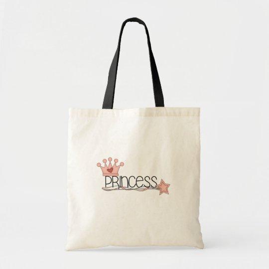 Pink Crown and Wand Princess Tote Bag