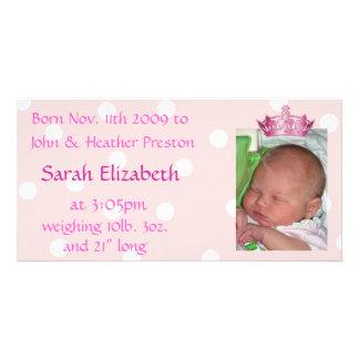 Pink Crown Birth Announcement Photo Card