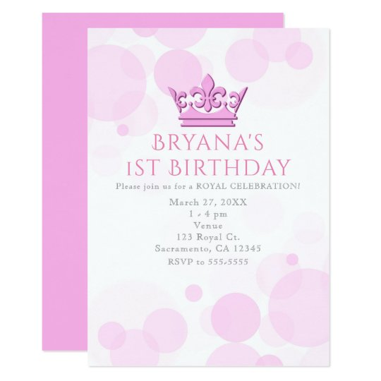 Pink Crown & Dots Royal Birthday Party Invitations