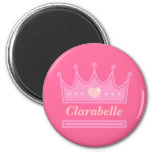 Pink Crown for the Royal Princess 6 Cm Round Magnet