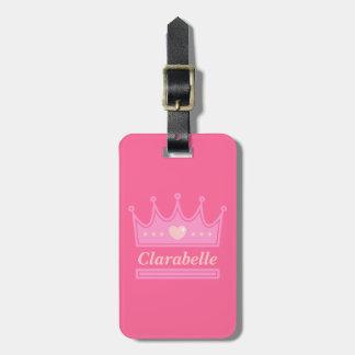Pink Crown for the Royal Princess Travel Bag Tags