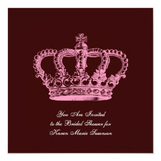 Pink Crown 13 Cm X 13 Cm Square Invitation Card