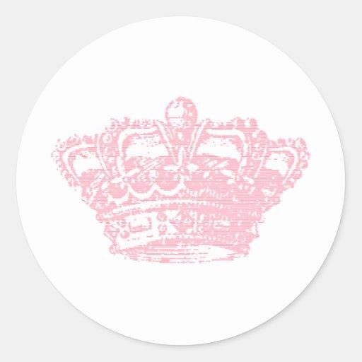 Pink Crown Round Sticker
