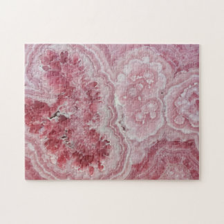 Pink crystal druse geode gem stone photo hipster jigsaw puzzle