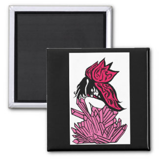 Pink crystal fairy square magnet
