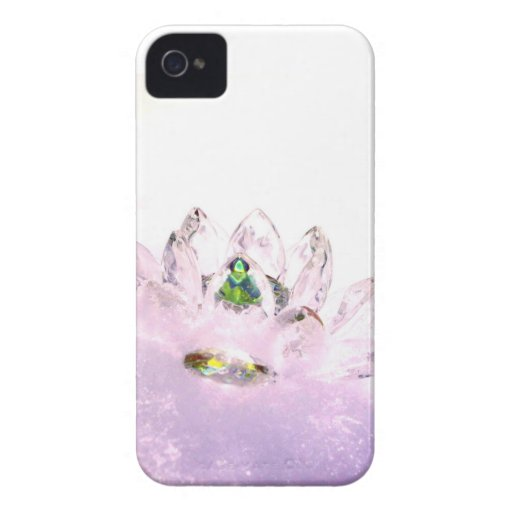 Pink crystal lotus iPhone 4 cover