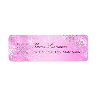 Pink Crystal Snowflake Christmas Address Labels