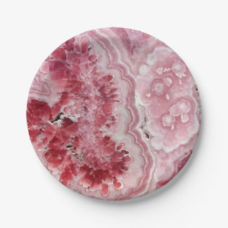 Pink Crystals Geode Paper Plate