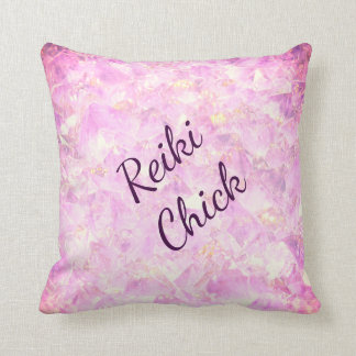 Pink Crystals Reiki Chick design Cushion