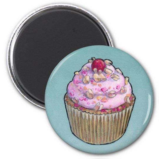 Pink cupcake 6 cm round magnet