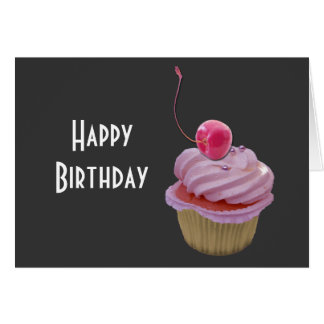 Pink Cupcake and Cherry Greeting Card