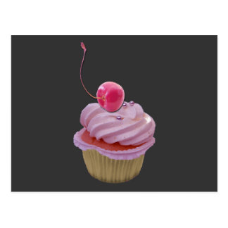 Pink Cupcake and Cherry Postcard