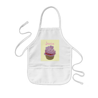 Pink Cupcake and Hearts Kids Apron