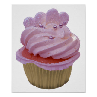 Pink Cupcake and Hearts Poster