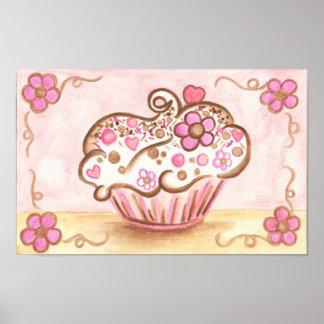 Pink Cupcake Bakery Kitchen Wall Art Poster Decor