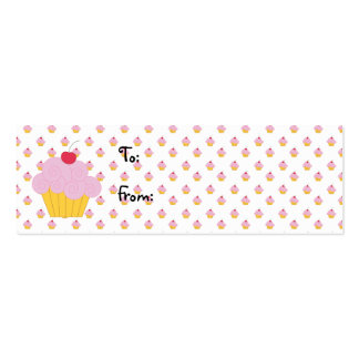 Pink Cupcake Birthday Gift Tags Business Card