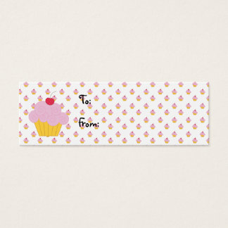 Pink Cupcake Birthday Gift Tags Mini Business Card