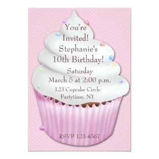 Pink Cupcake Birthday Invitation