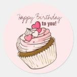 Pink Cupcake Birthday Sticker