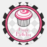 Pink Cupcake Birthday Sticker - Black Argyle