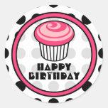 Pink Cupcake Birthday Sticker - Black Polka Dot