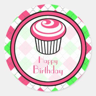 Pink Cupcake Birthday Sticker- Pink Green Argyle