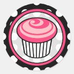 Pink Cupcake Birthday Sticker -  White Polka Dot
