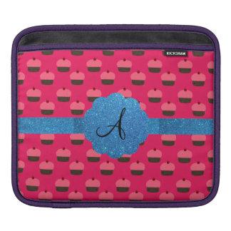 Pink cupcake blue glitter monogram iPad sleeve
