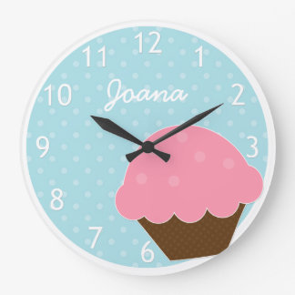 Pink Cupcake Blue Polka Dot Personalized Name Large Clock