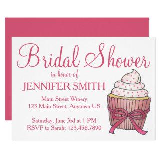 Pink Cupcake Cake Custom Bridal Shower Invitations