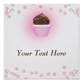 Pink Cupcake Confetti Birthday Party Bakery Poster
