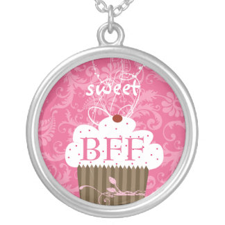 Pink Cupcake Damask-BFF BEST FRIENDS FOREVER Round Pendant Necklace