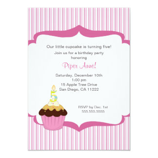 Pink Cupcake Fifth 5th Birthday Party Invitation