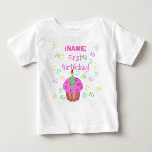 Pink Cupcake First Birthday Customised Baby T-Shirt