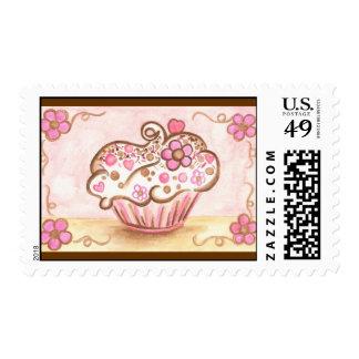 Pink Cupcake Flower Heart Postage Stamp