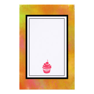 Pink Cupcake Image with an Abstract Orange Border Personalised Stationery