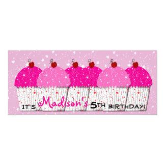 Pink Cupcake Love Birthday Party 10 Cm X 24 Cm Invitation Card