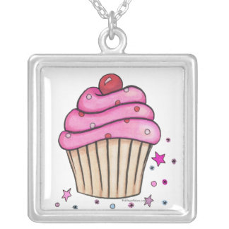 Pink Cupcake Necklace