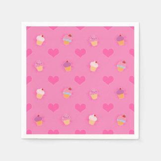 Pink Cupcake Pattern Disposable Serviettes