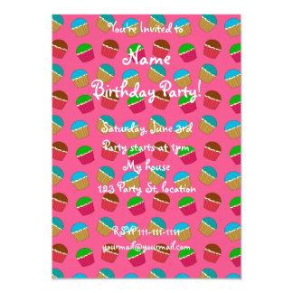 Pink cupcake pattern 13 cm x 18 cm invitation card