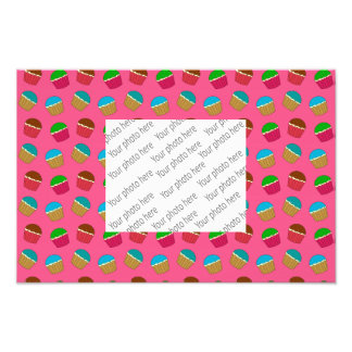 Pink cupcake pattern photo print
