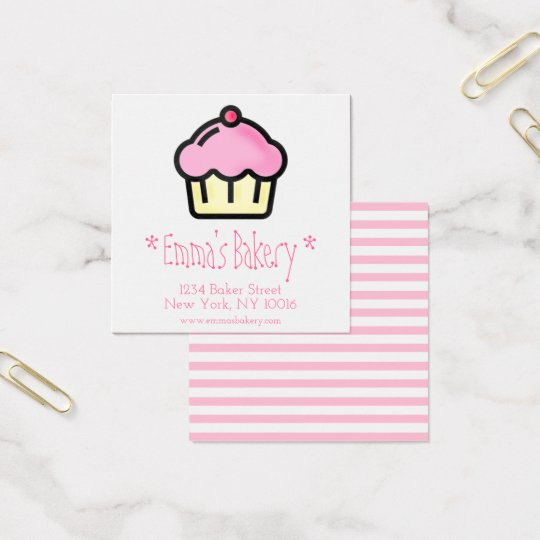 Pink Cupcake - Personalised Bakery Business Cards
