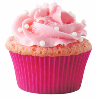 Pink Cupcake Pin Photo Sculpture Badge
